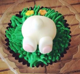 Easter bunny bum cupcake