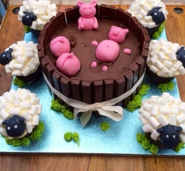 Pigs in mud and sheep cakes